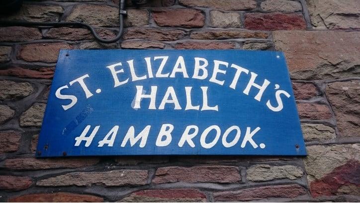 St Elizabeth's Hall, Hambrook exterior sign
